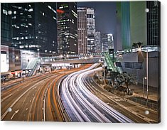 Light Trails On Road Acrylic Print by Andi Andreas