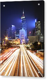 Light Trails On Road Acrylic Print by From John Chan, johnblog.phychembio.com