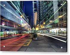 Light Trails On Street At Night Acrylic Print by Thank you for choosing my work.