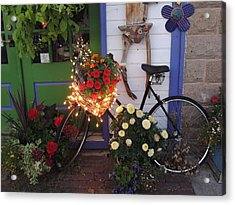 Lighted Bicycle Bayfield Acrylic Print by Peg Toliver