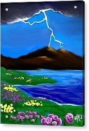 Acrylic Print featuring the digital art Lightening by Angela Stout