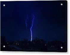 Lightening Strikes Acrylic Print by Trudy Wilkerson