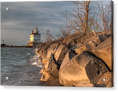 Lighthouse And Breakwall In Evening Light Acrylic Print by At Lands End Photography