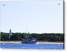 Lighthouse And Shrimp Boat Acrylic Print by Ralph Jones