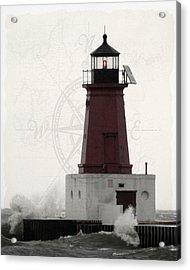 Lighthouse Compass Acrylic Print by Mark J Seefeldt
