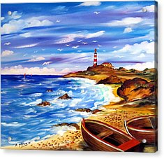 Acrylic Print featuring the painting Lighthouse Island by Roberto Gagliardi