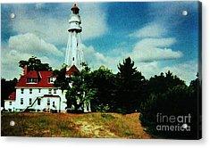 Lighthouse Off Lake Michigan Acrylic Print by Marsha Heiken
