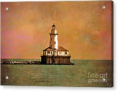 Lighthouse Off Navy Pier Acrylic Print by Mary Machare