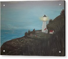 Lighthouse With Birds Acrylic Print by Angela Stout