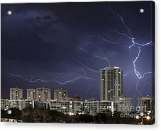 Lightning Bolt In Sky Acrylic Print by Blink Images