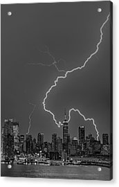 Lightning Bolts Over New York City Bw Acrylic Print by Susan Candelario