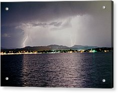 Lightning Lake Acrylic Print by Trent Mallett