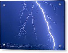 Lightning Strike At Night Near Phoenix, Usa Acrylic Print by Keith Kent