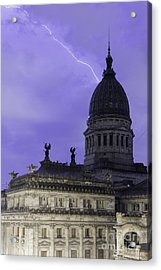 Lightning Strike Acrylic Print by Balanced Art