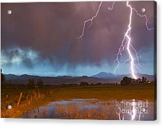 Lightning Striking Longs Peak Foothills 5 Acrylic Print by James BO  Insogna