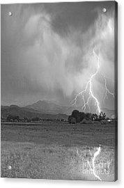 Lightning Striking Longs Peak Foothills 7cbw Acrylic Print by James BO  Insogna
