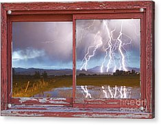 Lightning Striking Longs Peak Red Rustic Picture Window Frame Acrylic Print by James BO  Insogna
