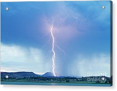 Lightning Twine Striking The Colorado Rocky Mountain Foothills Acrylic Print by James BO  Insogna