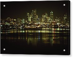 Lights Of Downtown Seattle Reflect Acrylic Print by Gordon Wiltsie