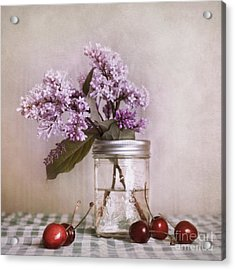 Lilac And Cherries Acrylic Print by Priska Wettstein