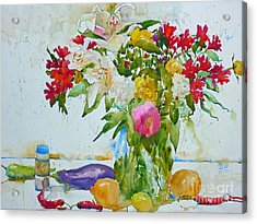 Lilies And Red Peppers Acrylic Print by Andre MEHU