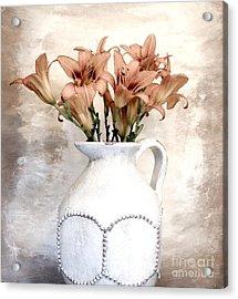 Lilies Pitcher Acrylic Print by Marsha Heiken