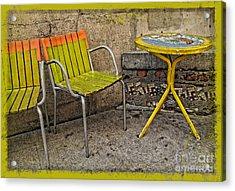 Lime Chairs Acrylic Print by Joan  Minchak