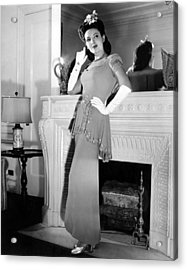 Linda Darnell In Sequined Evening Gown Acrylic Print by Everett