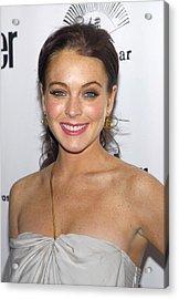 Lindsay Lohan Wearing Chanel Earrings Acrylic Print by Everett