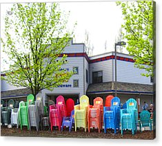 Line Of Rainbow Chairs Acrylic Print by Kym Backland