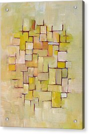 Line Series Yellow Basket Weave Acrylic Print by Patricia Cleasby