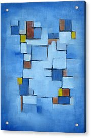 Lines Series Blue Red Yellow II Acrylic Print by Patricia Cleasby