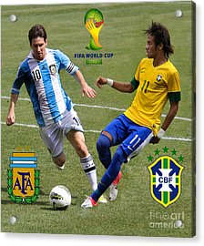 Lionel Messi And Neymar Clash Of The Titans Fifa World Cup 2014 And Team Logos Acrylic Print by Lee Dos Santos