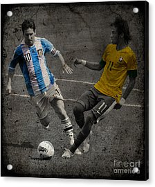 Lionel Messi And Neymar Clash Of The Titans Vii Acrylic Print by Lee Dos Santos