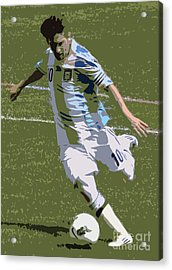 Lionel Messi Kicking II Acrylic Print by Lee Dos Santos