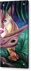 Lioness And Frog Acrylic Print