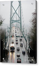 Lions Mist Lions Gate Bridge From Stanley Park Vancouver Bc Acrylic Print by Andy Smy