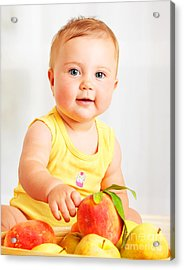 Little Baby Choosing Fruits Acrylic Print by Anna Om