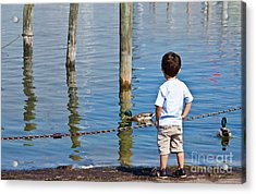 Little Boy By The Water Acrylic Print