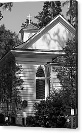Little Chapel In The Woods In Black And White Acrylic Print by Suzanne Gaff