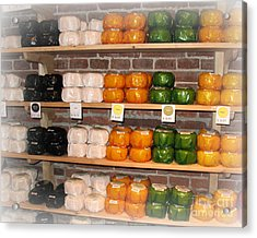 Little Cheeses On A Shelf In Amsterdam Acrylic Print by Trude Janssen
