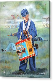 Acrylic Print featuring the painting Little Drummer Boy by Karen Wilson