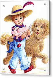 Acrylic Print featuring the drawing Little Farm Boy by Dee Davis