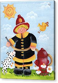 Little Fireman Acrylic Print by Pat Olson