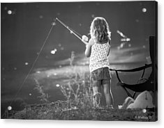 Little Fishing Girl Acrylic Print
