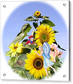 Little Folk Among The Sunflowers Acrylic Print by Maureen Carter