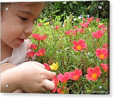 Little Girl Admiring Flowers Acrylic Print by Gary Heiden