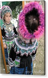 Little Girl Dressing Up In Hmong Hill Tribe Garb Acrylic Print by Gary Heiden