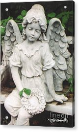 Little Girl Garden Angel Holding Wreath  Acrylic Print by Kathy Fornal