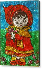 Little  Girl - Glass Painting Acrylic Print by Rejeena Niaz